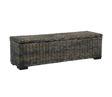 vidaXL Storage Box 120 cm Black Kubu Rattan and Solid Mango Wood