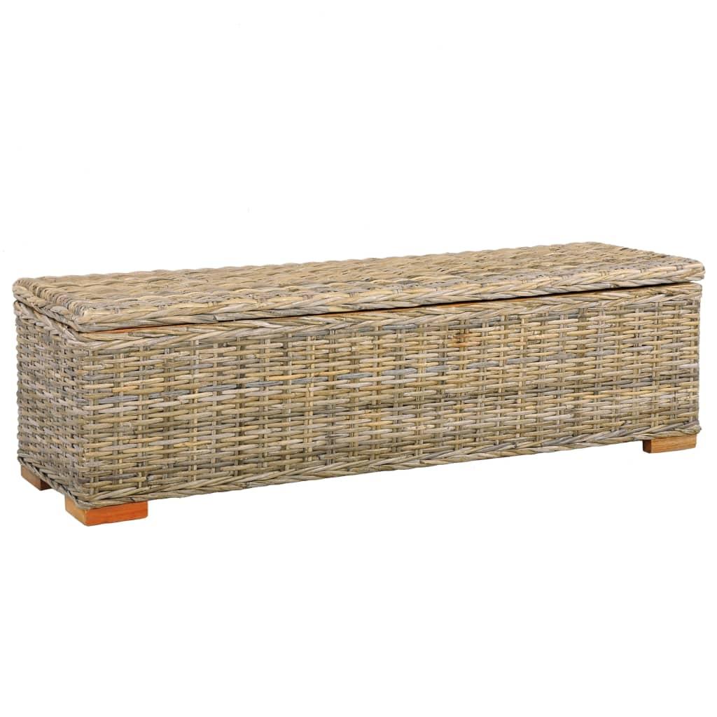 vidaXL Ladă de depozitare, 120 cm, ratan kubu și lemn masiv de mango poza 2021 vidaXL
