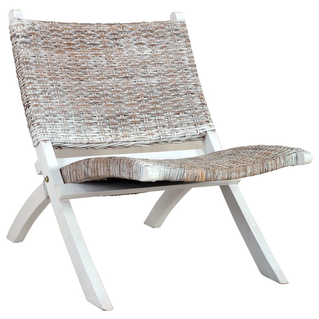 Relaxační křeslo bílé přírodní ratan kubu a masivní mahagon