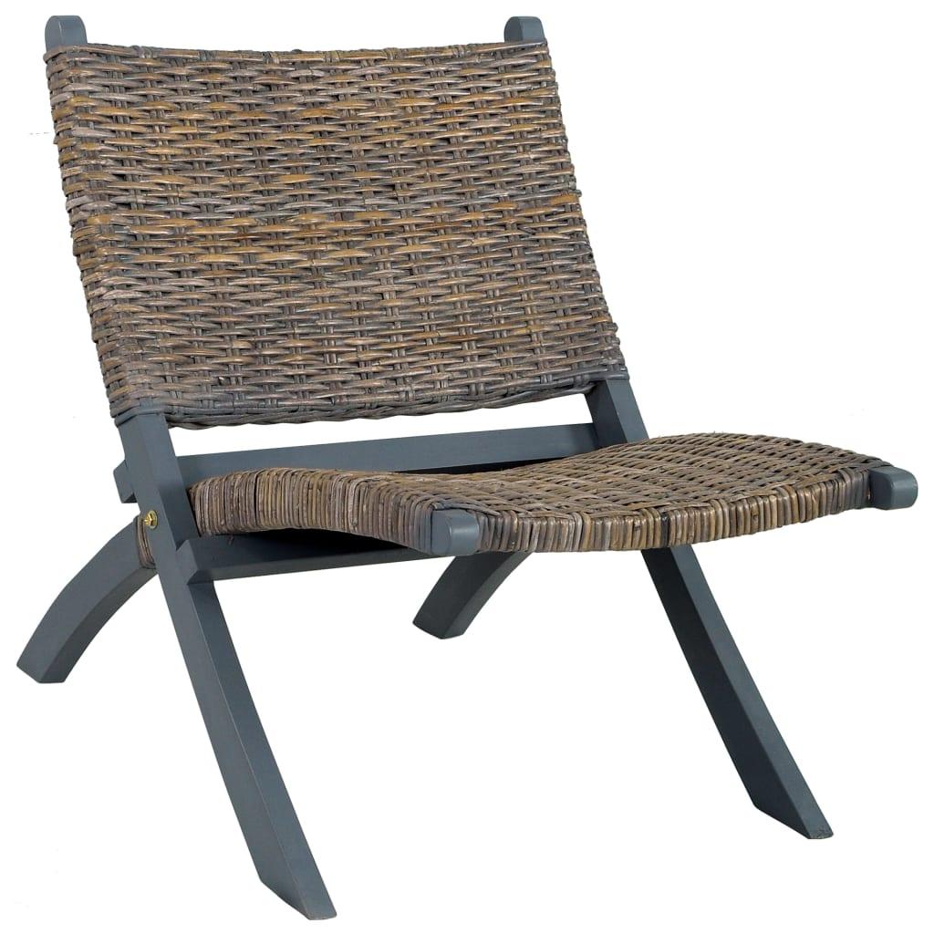 Relaxační křeslo šedé přírodní ratan kubu a masivní mahagon