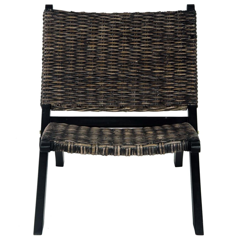 Relaxstoel natuurlijk kubu rattan en massief mahoniehout zwart