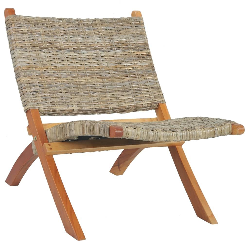 vidaXL Scaun relaxare, natural, ratan kubu și lemn masiv de mahon vidaxl.ro