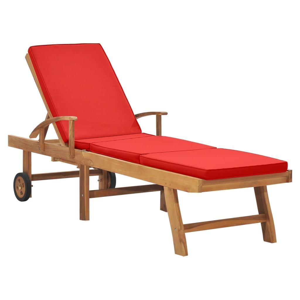 vidaXL Șezlong cu pernă, roșu, lemn masiv de tec imagine vidaxl.ro