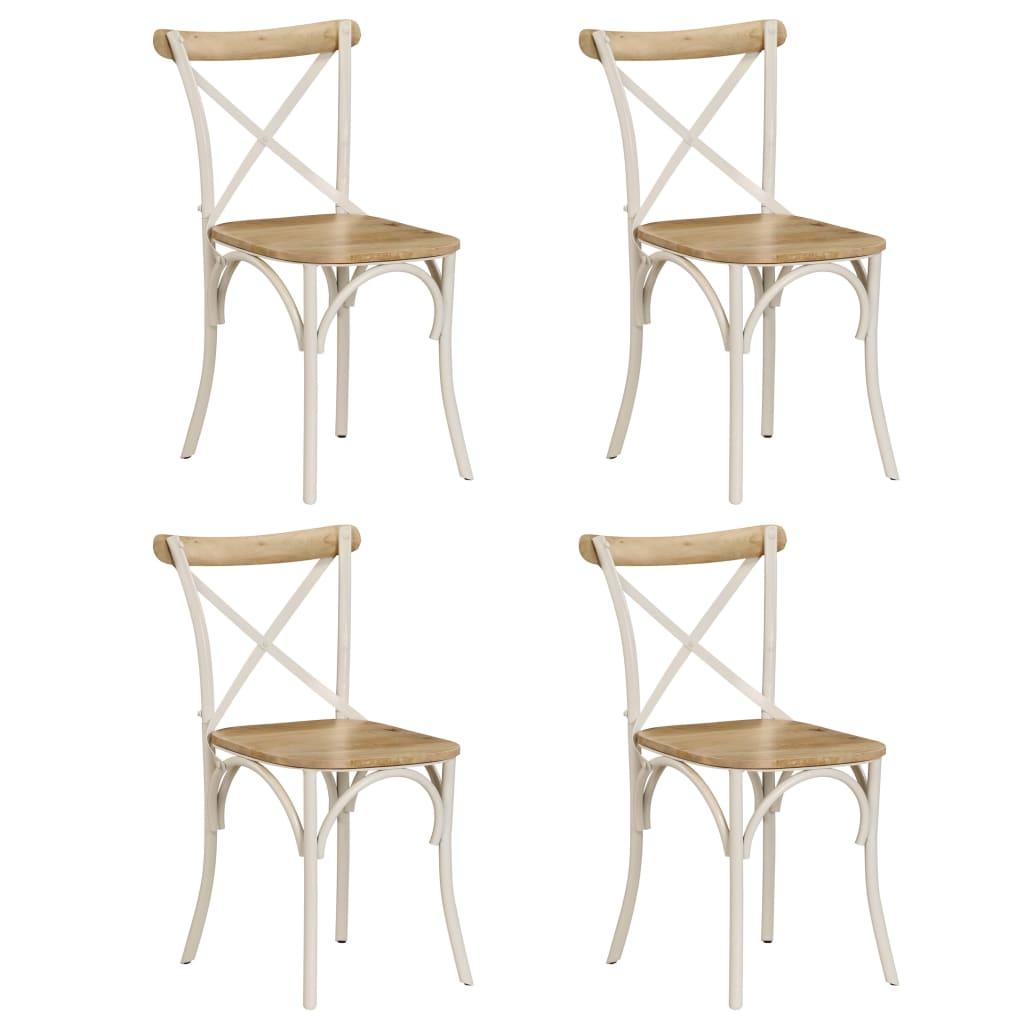 vidaXL Καρέκλες με Χιαστί Πλάτη 4 τεμ. Λευκές από Μασίφ Ξύλο Μάνγκο