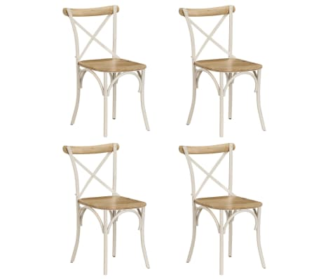 vidaXL Cross Chairs 4 pcs White Solid Mango Wood