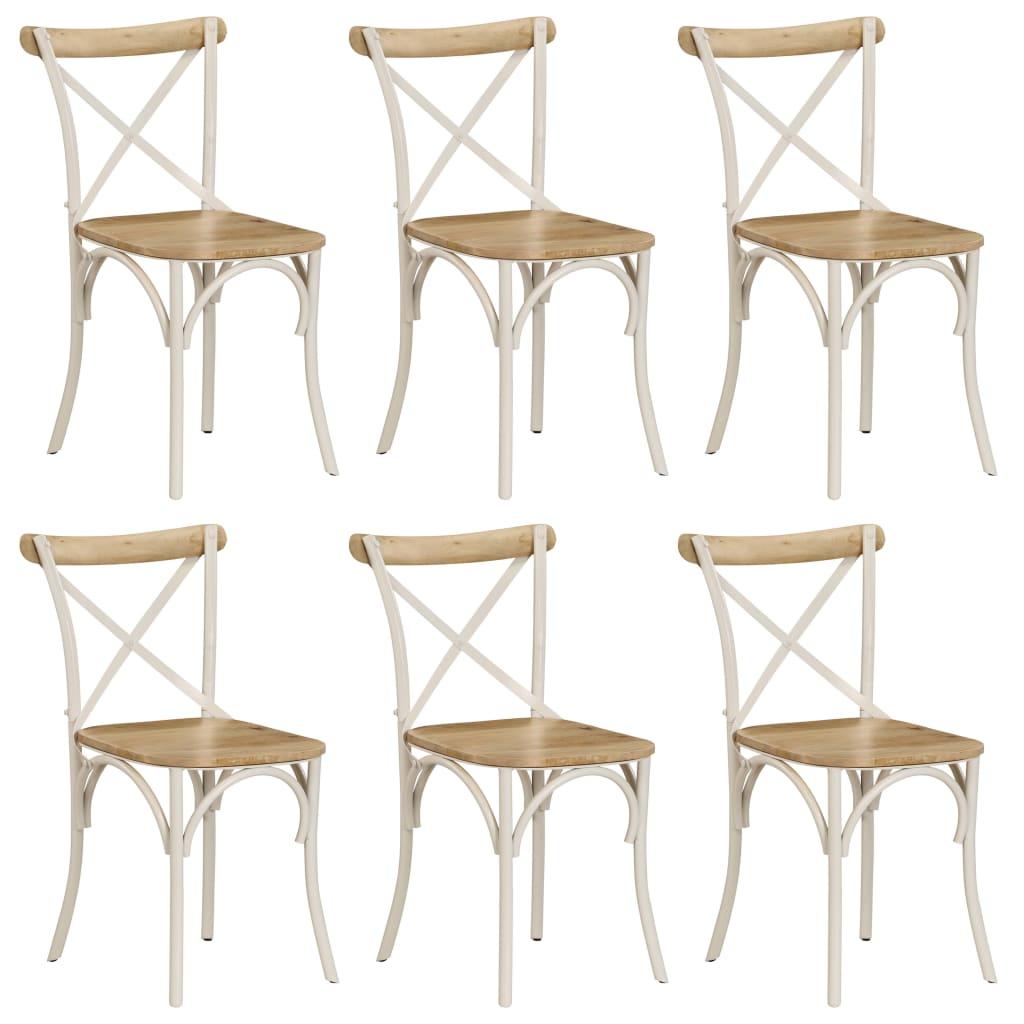vidaXL Καρέκλες με Χιαστί Πλάτη 6 τεμ. Λευκές από Μασίφ Ξύλο Μάνγκο