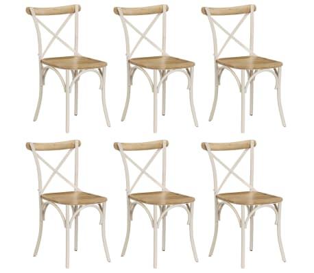 vidaXL Cross Chairs 6 pcs White Solid Mango Wood