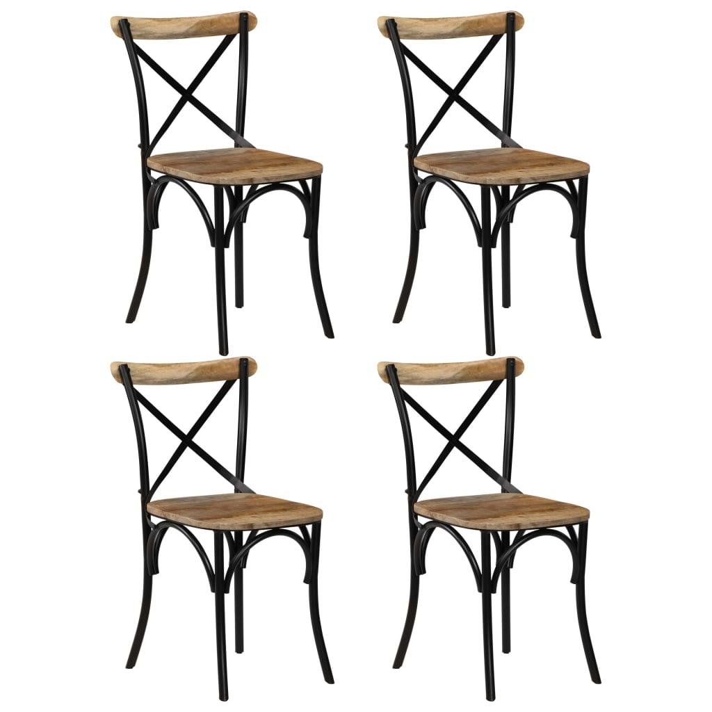 vidaXL Καρέκλες με Χιαστί Πλάτη 4 τεμ. Μαύρες από Μασίφ Ξύλο Μάνγκο