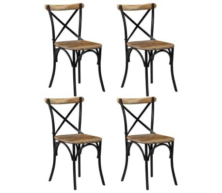vidaXL Cross Chairs 4 pcs Black Solid Mango Wood
