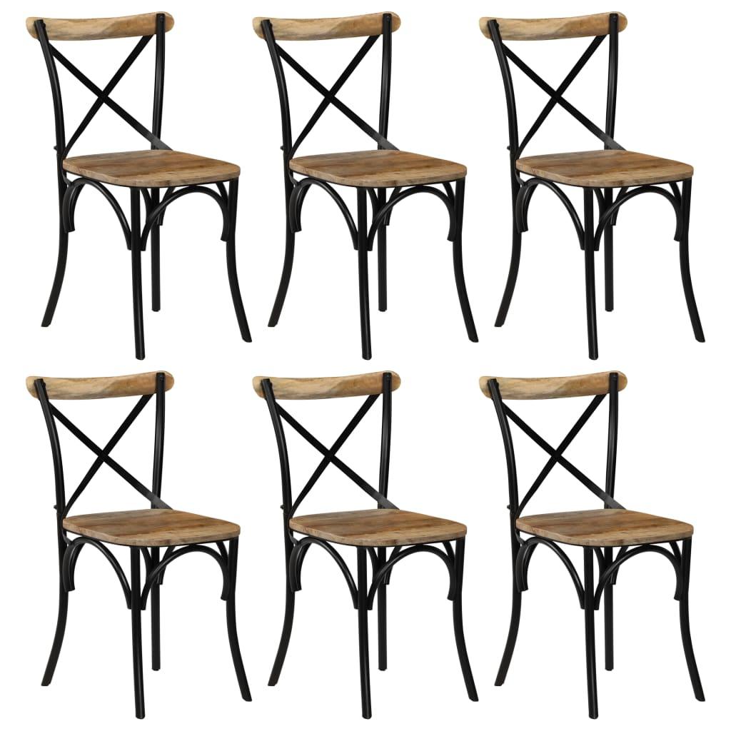vidaXL Καρέκλες με Χιαστί Πλάτη 6 τεμ. Μαύρες από Μασίφ Ξύλο Μάνγκο