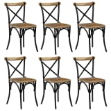 vidaXL Cross Chairs 6 pcs Black Solid Mango Wood