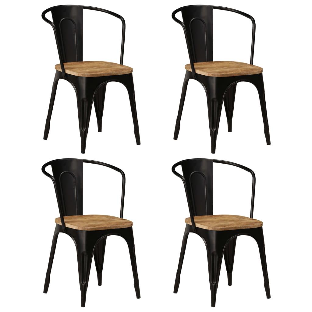 vidaXL Καρέκλες Τραπεζαρίας 4 τεμ. Μαύρες από Μασίφ Ξύλο Μάνγκο