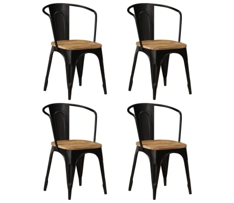 vidaXL Dining Chairs 4 pcs Black Solid Mango Wood