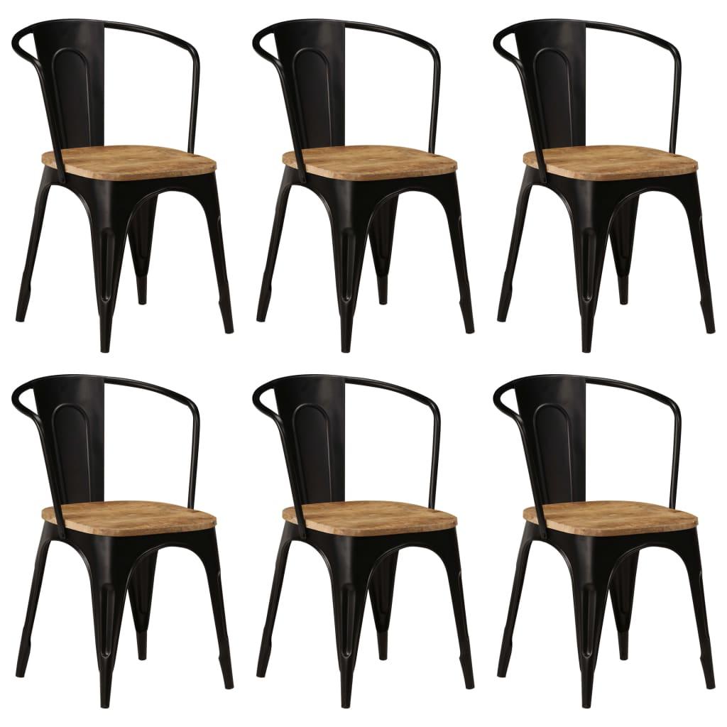 vidaXL Καρέκλες Τραπεζαρίας 6 τεμ. Μαύρες από Μασίφ Ξύλο Μάνγκο
