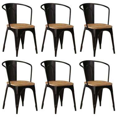 vidaXL Dining Chairs 6 pcs Black Solid Mango Wood[1/13]