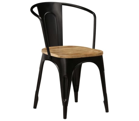 vidaXL Dining Chairs 6 pcs Black Solid Mango Wood[2/13]