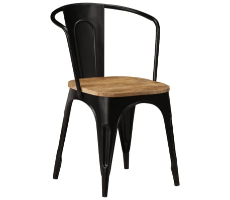 vidaXL Dining Chairs 6 pcs Black Solid Mango Wood[13/13]