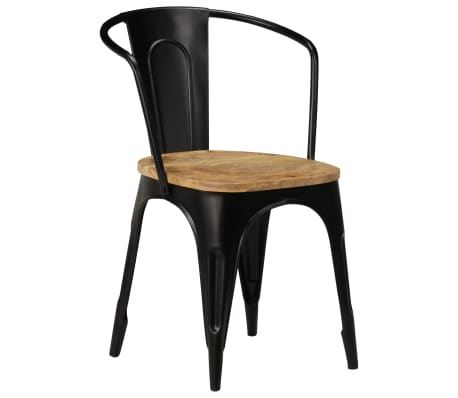 vidaXL Dining Chairs 6 pcs Black Solid Mango Wood[3/13]