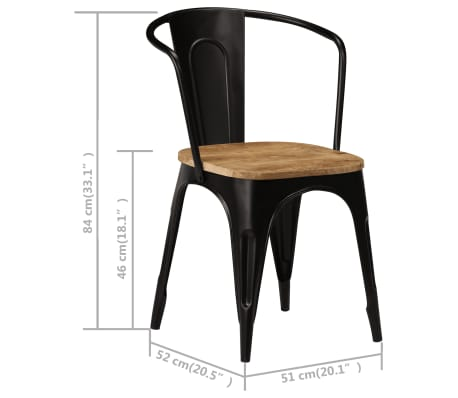 vidaXL Dining Chairs 6 pcs Black Solid Mango Wood[10/13]