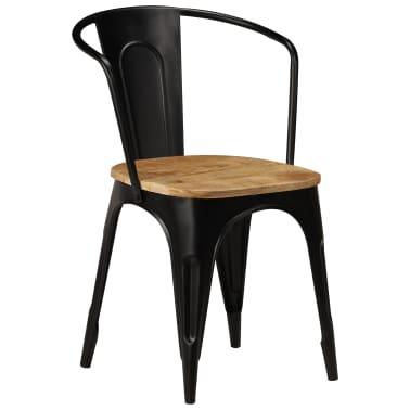 vidaXL Dining Chairs 6 pcs Black Solid Mango Wood[12/13]