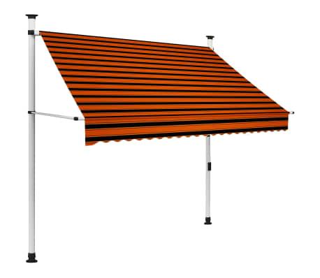vidaXL käsitsi sissetõmmatav varikatus, 200 cm, oranž ja pruun