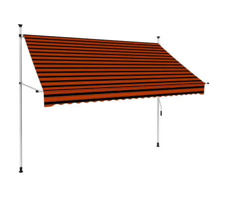 vidaXL Luifel handmatig uittrekbaar 250 cm oranje en bruin