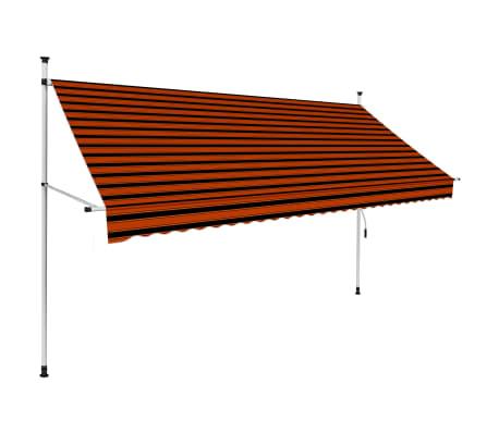vidaXL Ръчно прибиращ се сенник, 300 см, оранжево и кафяво