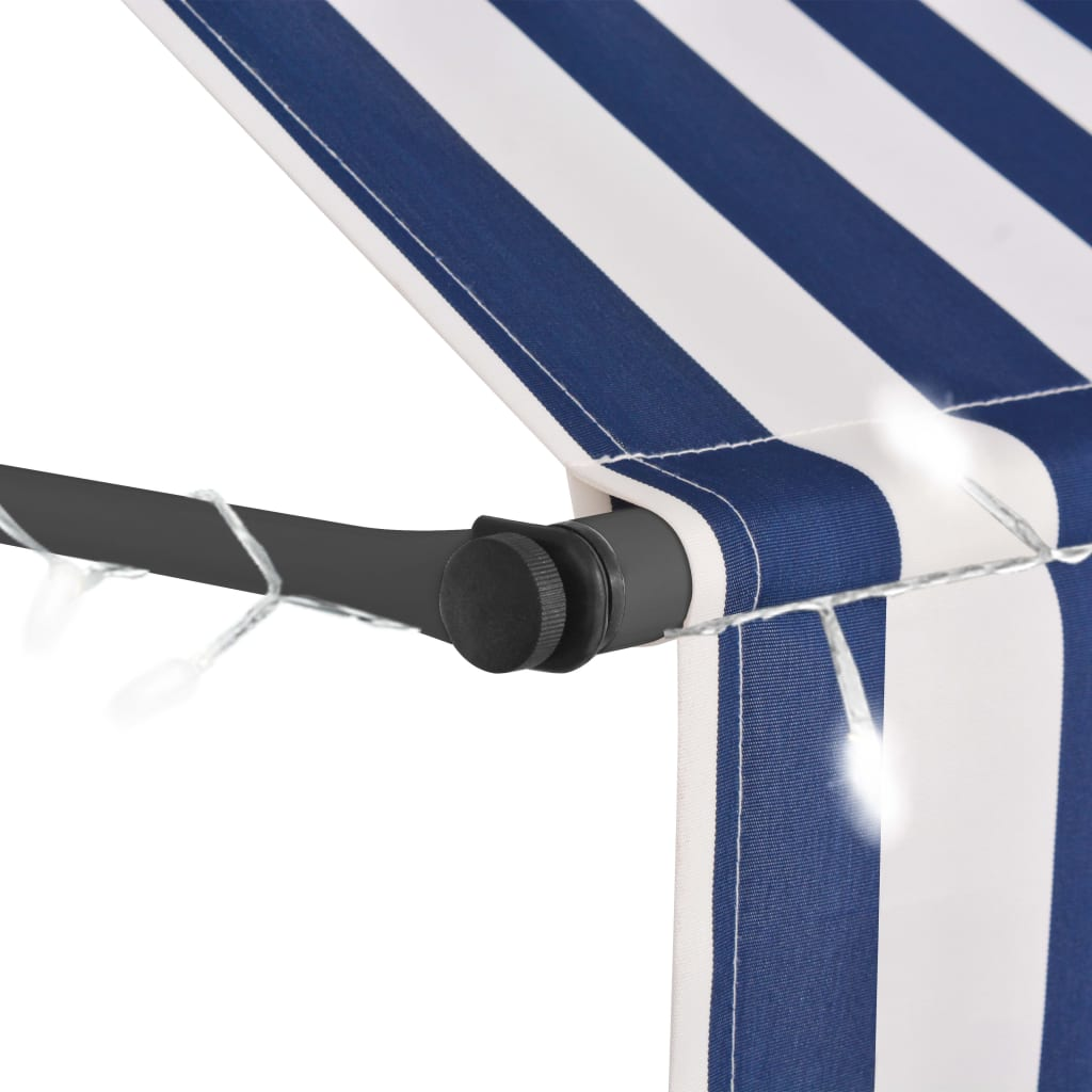 vidaXL Luifel handmatig uittrekbaar met LED 100 cm blauw en wit