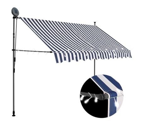 vidaXL Ръчно прибиращ се сенник с LED, 300 см, синьо и бяло