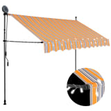 vidaXL Manual Retractable Awning with LED 250 cm Yellow and Blue