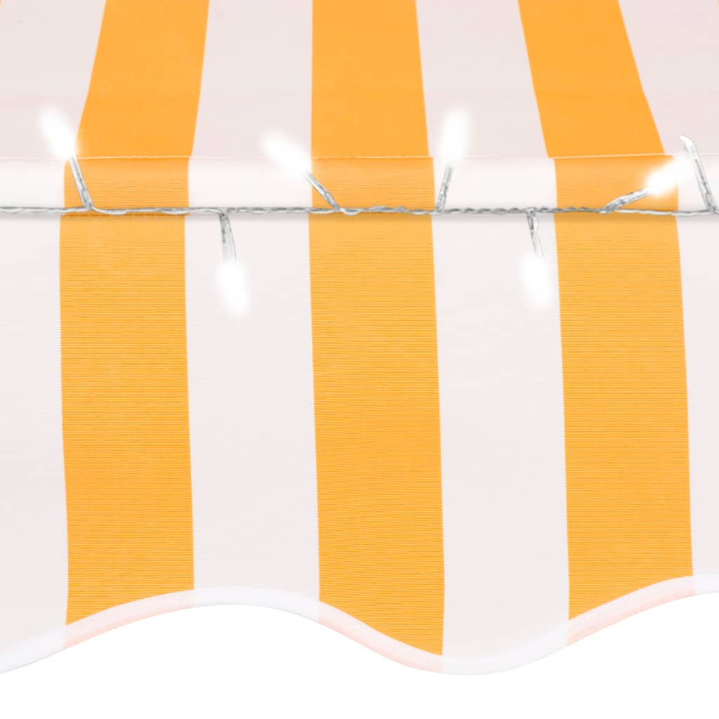 vidaXL Luifel handmatig uittrekbaar met LED 100 cm wit en oranje