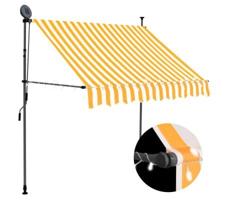 vidaXL Luifel handmatig uittrekbaar met LED 200 cm wit en oranje