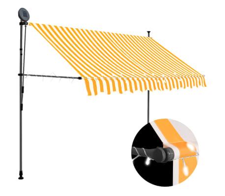 vidaXL Luifel handmatig uittrekbaar met LED 250 cm wit en oranje