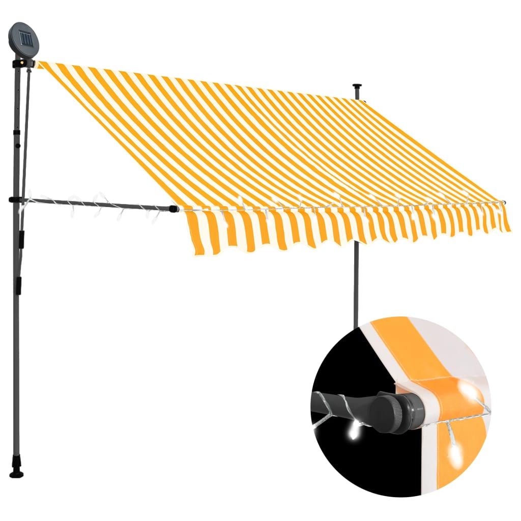 vidaXL Copertină retractabilă manual cu LED, alb & portocaliu, 300 cm poza 2021 vidaXL