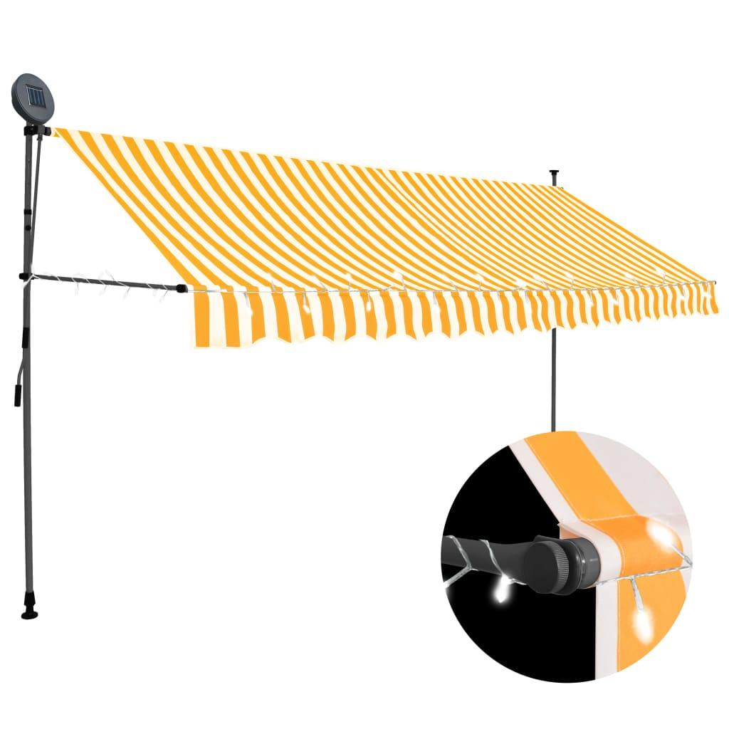 vidaXL Copertină retractabilă manual cu LED, alb & portocaliu, 350 cm imagine vidaxl.ro