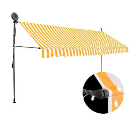 vidaXL Luifel handmatig uittrekbaar met LED 400 cm wit en oranje