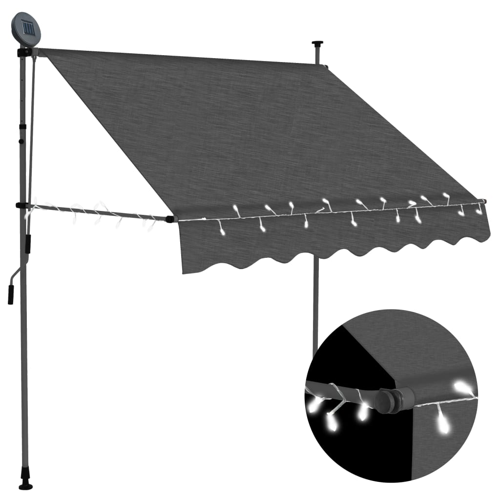 vidaXL Copertină retractabilă manual cu LED, antracit, 200 cm vidaxl.ro