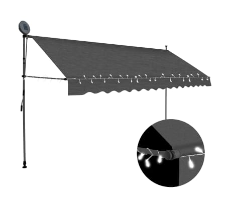 "vidaXL Manual Retractable Awning with LED 157.5"" Anthracite"