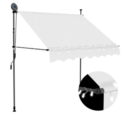 "vidaXL Manual Retractable Awning with LED 78.7"" Cream"