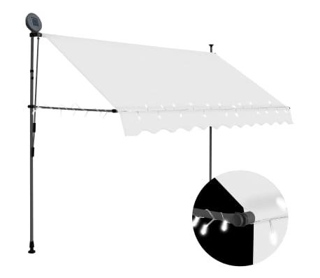 vidaXL Ručne zaťahovacia markíza s LED 250 cm krémová