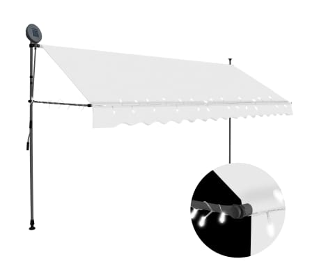 "vidaXL Manual Retractable Awning with LED 137.8"" Cream"