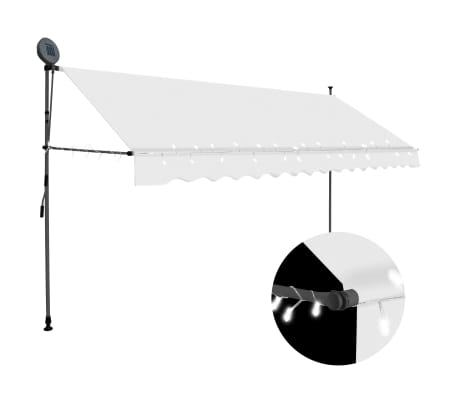 "vidaXL Manual Retractable Awning with LED 157.5"" Cream"