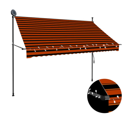 vidaXL Luifel handmatig uittrekbaar met LED 250 cm oranje en bruin