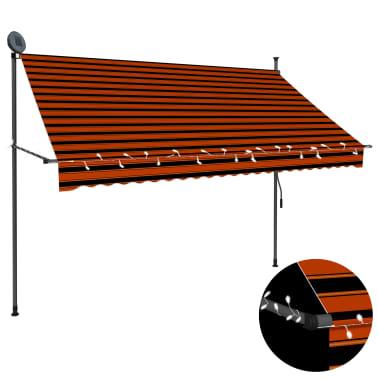 vidaXL Luifel handmatig uittrekbaar met LED 250 cm oranje en bruin[1/7]