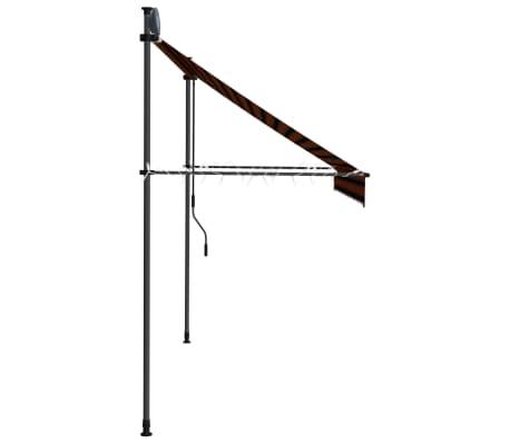 vidaXL Luifel handmatig uittrekbaar met LED 250 cm oranje en bruin[5/7]