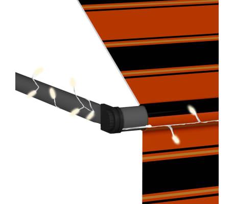 vidaXL Luifel handmatig uittrekbaar met LED 250 cm oranje en bruin[6/7]
