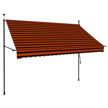 vidaXL Luifel handmatig uittrekbaar met LED 250 cm oranje en bruin[3/7]