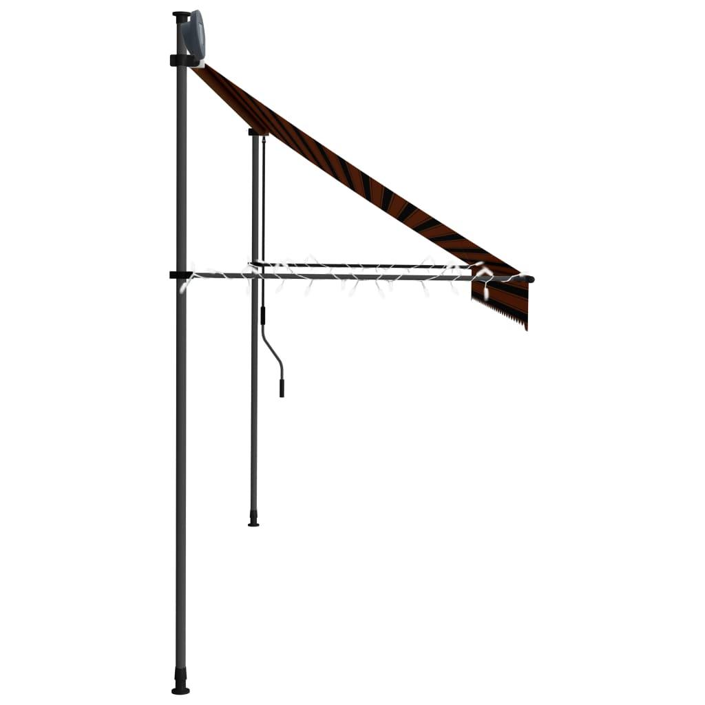 vidaXL Luifel handmatig uittrekbaar met LED 300 cm oranje en bruin