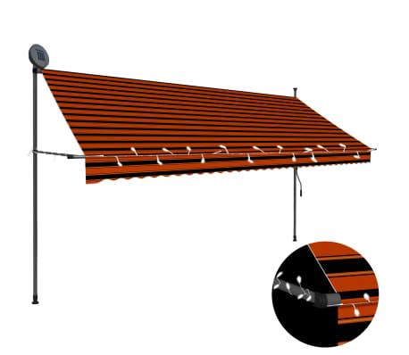 vidaXL Luifel handmatig uittrekbaar met LED 350 cm oranje en bruin