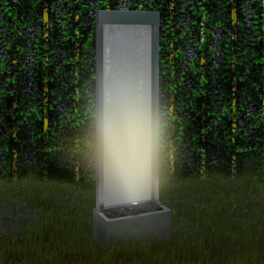 vidaXL Fântână de grădină, argintiu, 46 x 24 x 150 cm, oțel inoxidabil poza vidaxl.ro